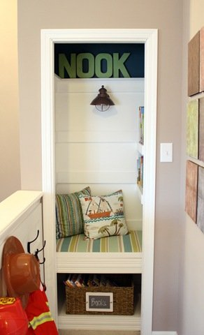 Closet Turned Book Nook
