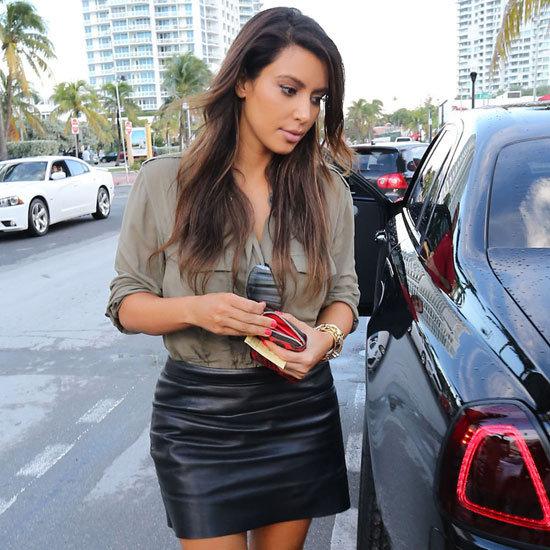 Kim Kardashian Wearing Black Leather Skirt