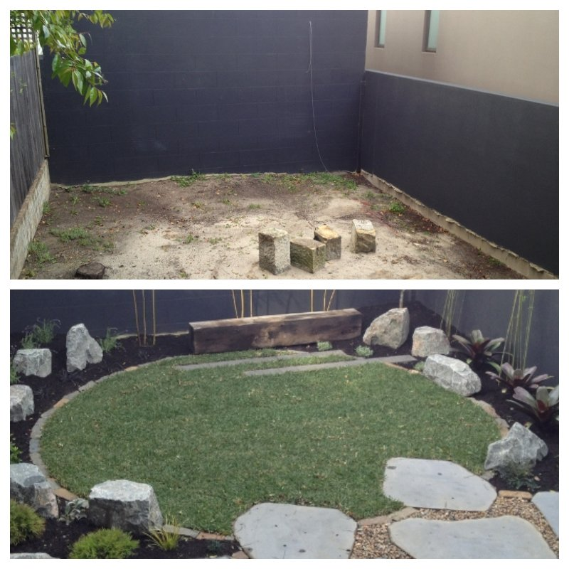 This week our garden went from an unfinished hole to sleek and Japanese-inspired in a matter of days. Side note: you know you're getting old when things like grass and lemon trees excite you.