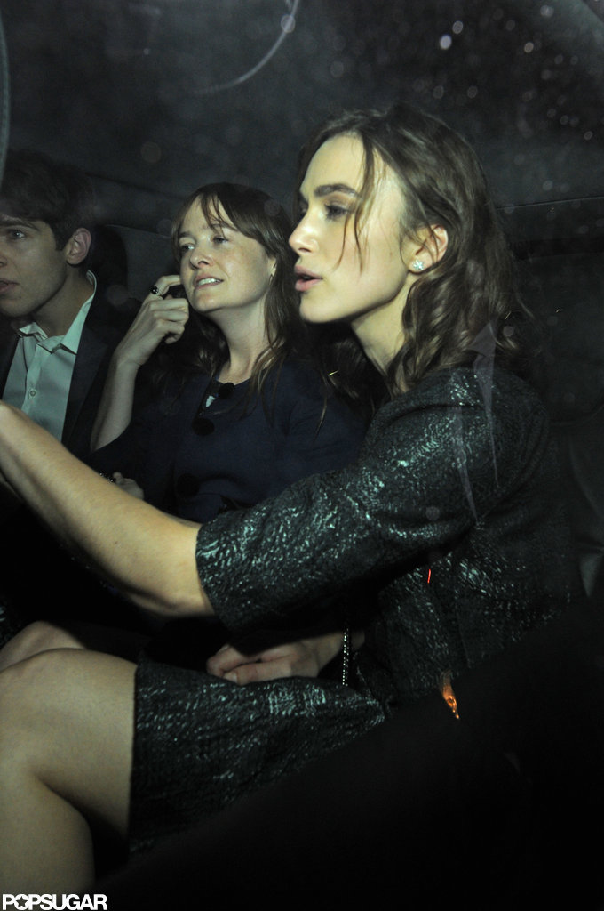 Keira Knightley left the Chanel party with fiancé James Righton and Lula magazine editor Leith Clark.