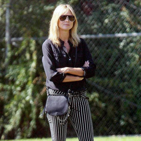 Heidi Klum Wearing Striped Pants
