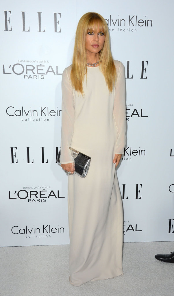 Rachel Zoe chose a long white gown to attend the awards in LA.