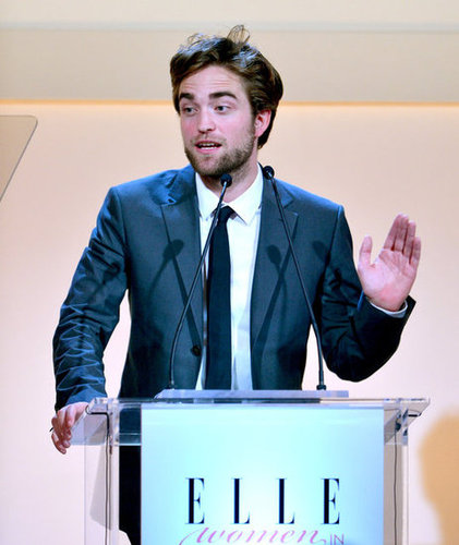 Robert Pattinson appeared on stage in LA at the Elle Women in Hollywood Awards.