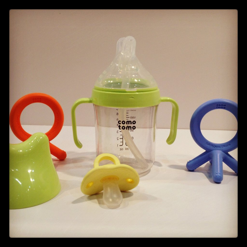 Como Tomo is expanding into the teether, pacifier, and sippy cup world. Its sippy cup will feature a double spout — one with a straw, and one that is simply a spout.