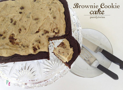 Best Brownie Cookie Cake with Cookie dough frosting