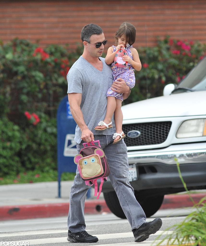 Freddie Prinze Jr. carried his daughter Charlotte to school.