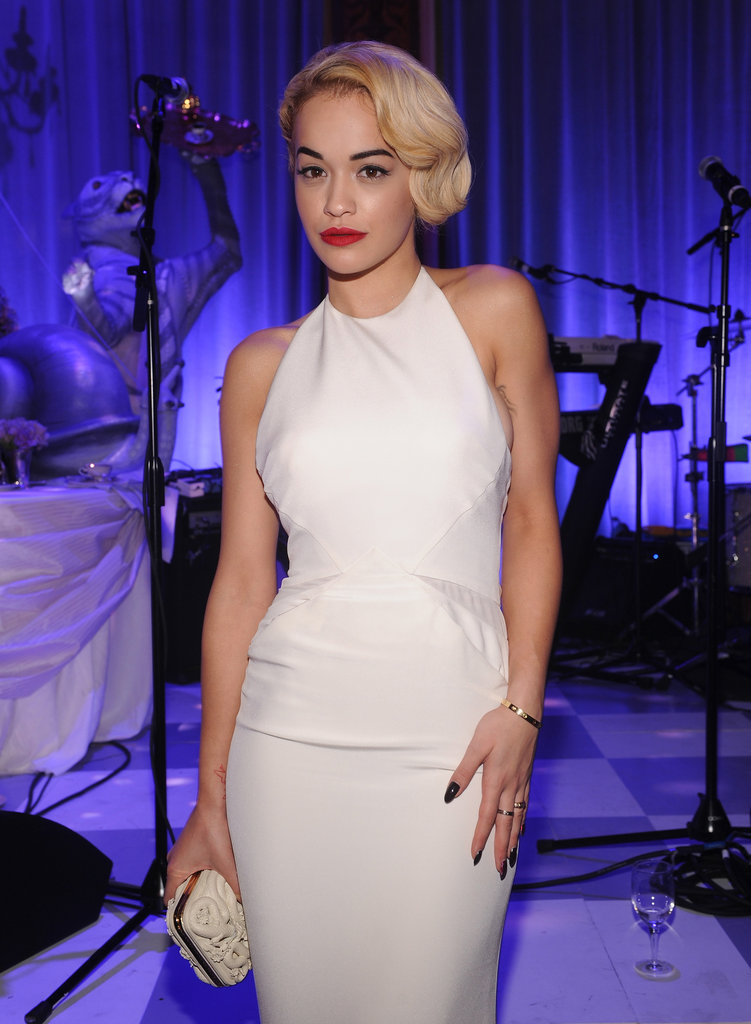 Rita Ora wore a white Pucci gown for the NYC event.