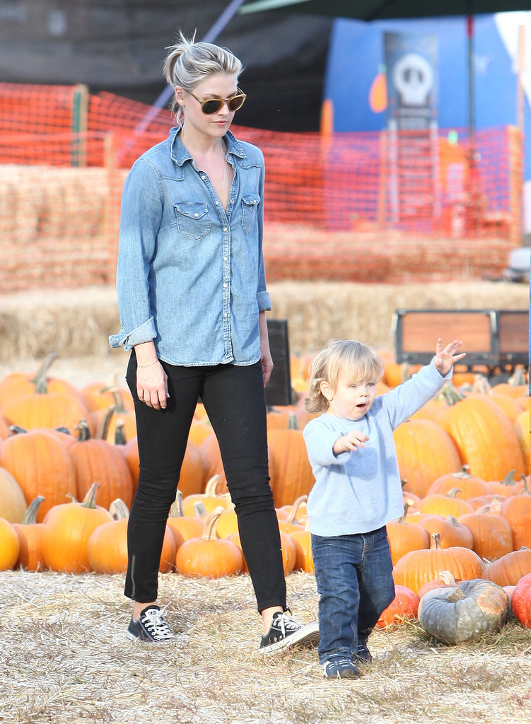 Ali Larter and her son Theodore checked out the offerings at LA's Mr. Bones Pumpkin Patch.