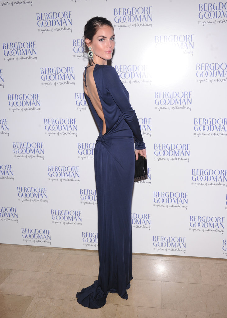 Hilary Rhoda attended the festivities in a back-baring navy silk gown.