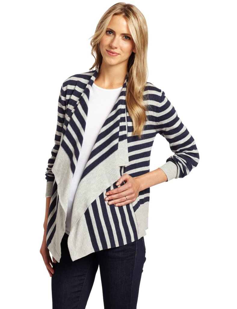 You'll look totally chic in this striped cardigan from Ripe Maternity ($89). The flattering drape makes it the perfect cardigan for your Fall and Winter wardrobe, pairing with jeans for casualwear or black pants for the office.