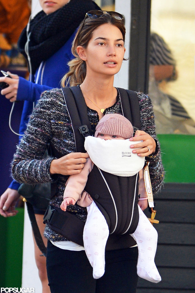 Lily Aldridge held on to her daughter, Dixie, in NYC.