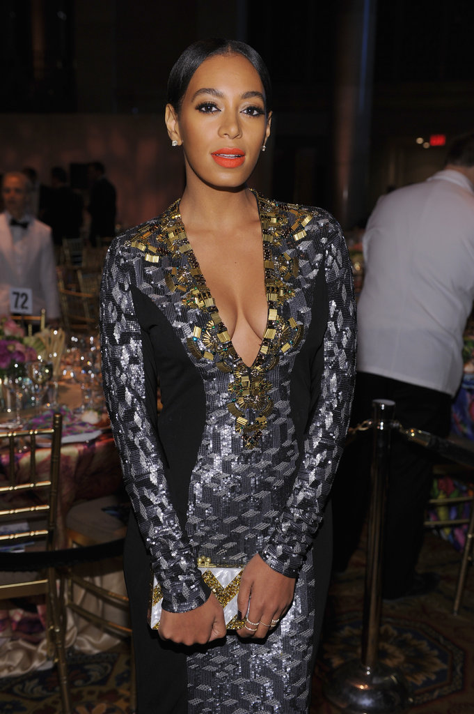 Solange Knowles chose a plunging neckline for the event.