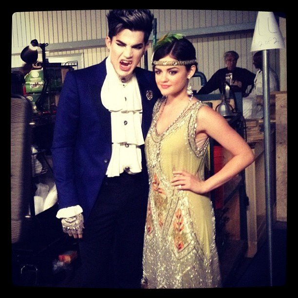 Lucy Hale posed with a vampire Adam Lambert on the set of Pretty Little Liars. Source: Instagram user lucyhale89
