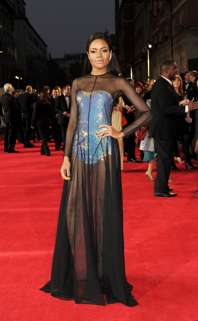 Naomie Harris wore a sexy sheer dress with a blue unitard under it.
