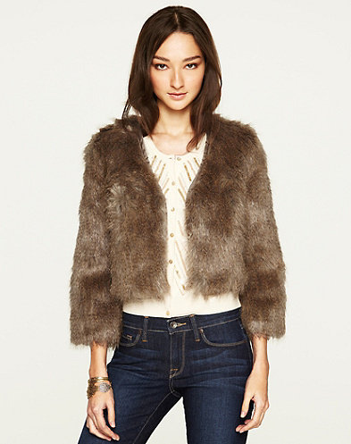 Layer this Lucky Brand Gypset Faux Fur Jacket ($149) with dark floral dresses and tights.