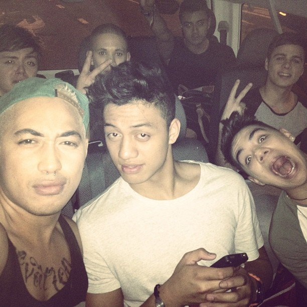 Boys from Fourtunate, The Collective and Nathaniel Willemse rode home together after the Oct. 22 show. Source: Instagram user joekalepo