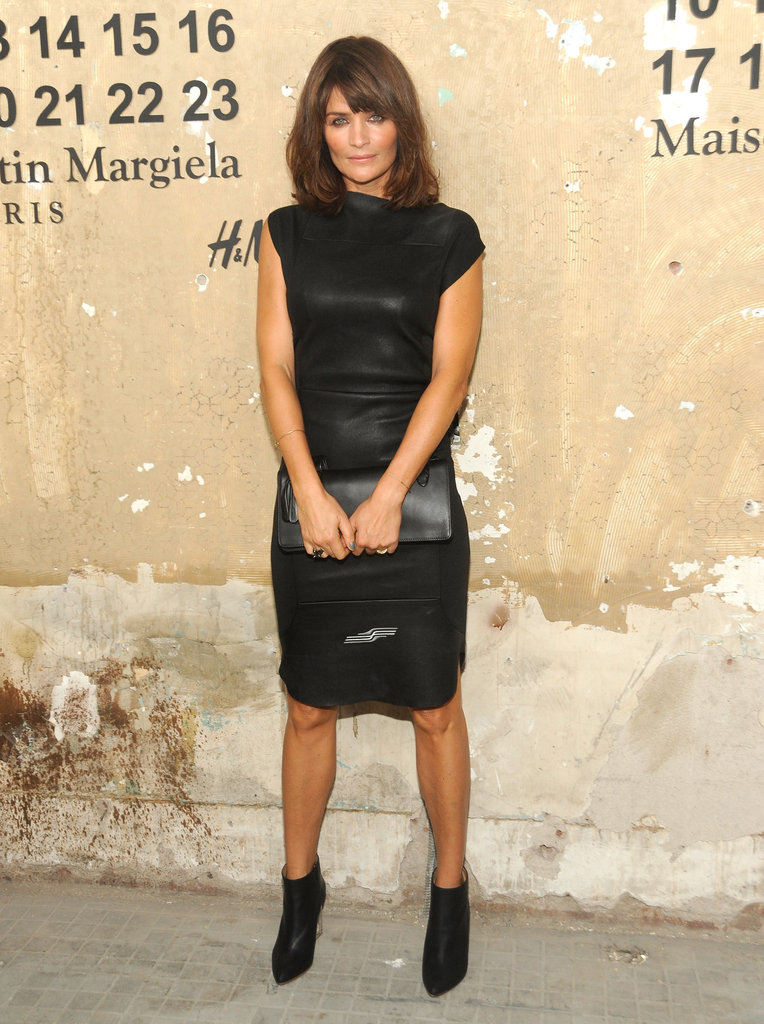 Helena Christensen stepped out in a slick leather LBD.