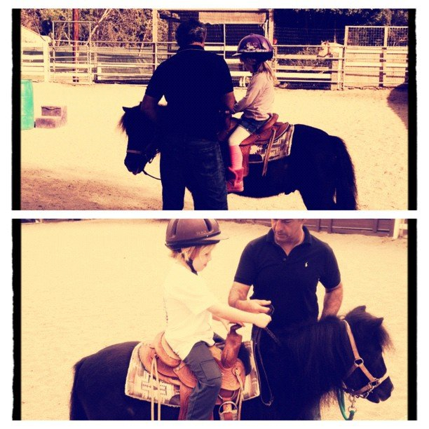 Liam and Stella McDermott took their first horseback riding lessons. Source: Instagram user torianddean