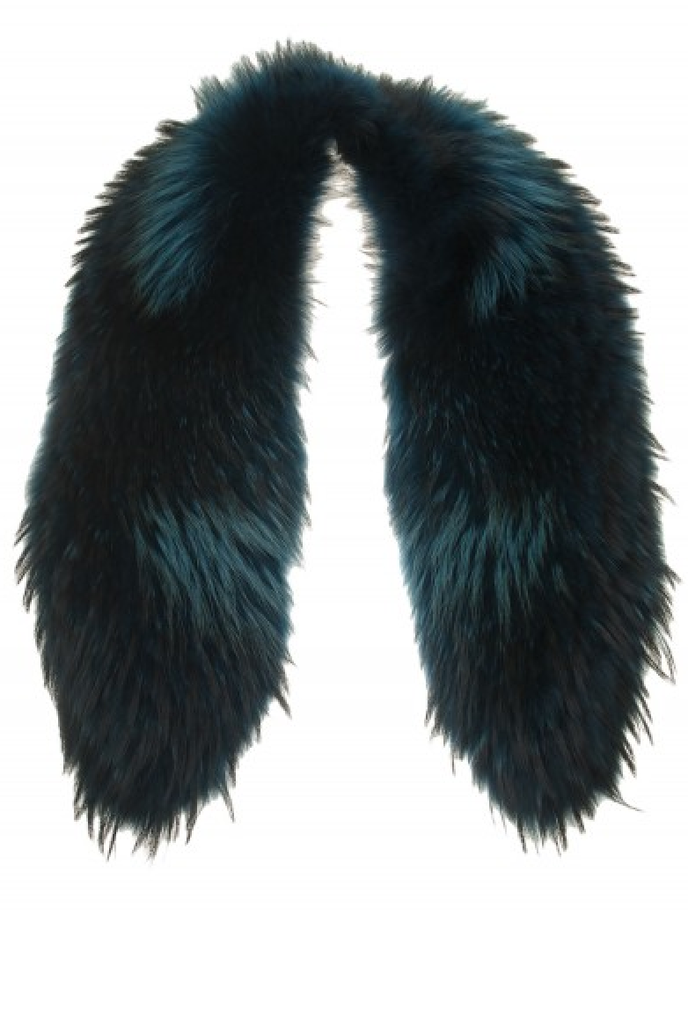 We love the deep teal hue on this Otte Finn Raccoon Collar ($385).