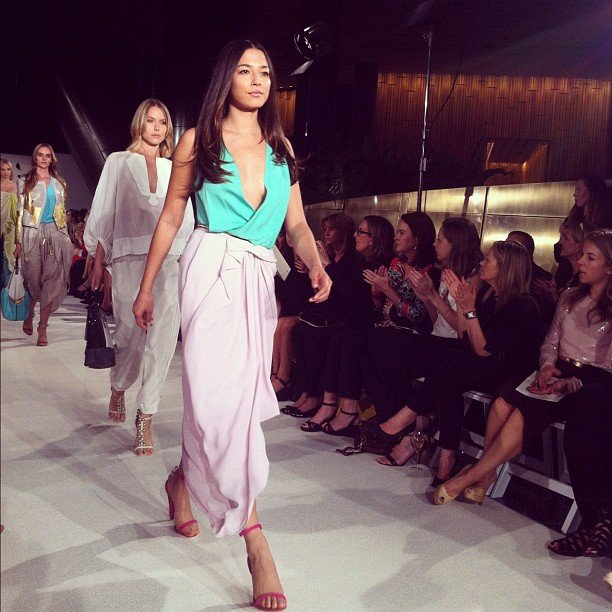 Jessica Gomes stormed the catwalk in Diane von Furstenberg. Source: Instagram user katewaterhouse7