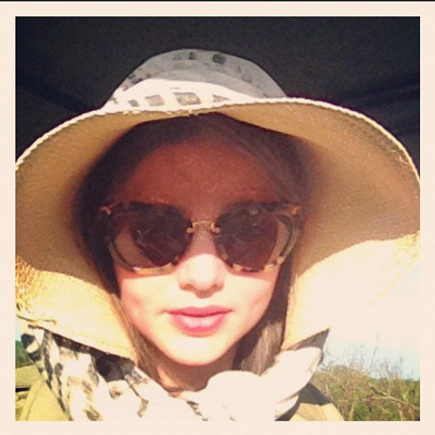 Miranda Kerr stayed sun smart on safari in Africa. Source: Instagram user mirandakerrverified