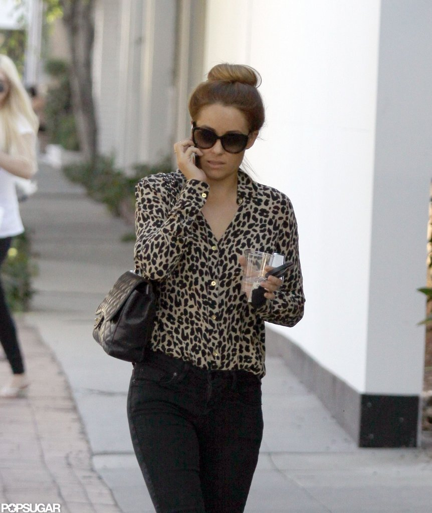 Lauren Conrad wore an animal-print shirt for a shopping trip in LA.
