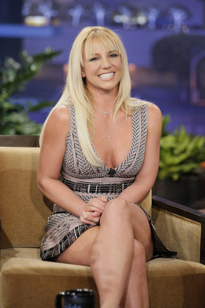 Britney Spears sported a low-cut dress for the late show.