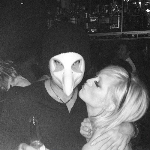 Brittany Snow shared a kiss with a masked man. Source: Instagram user brittsnowhuh