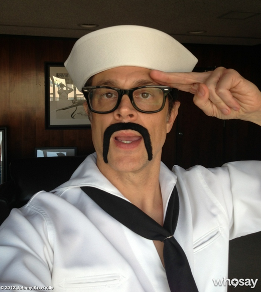 Dressed in a sailor suit, Johnny Knoxville saluted his fans. Source: Johnny Knoxville on WhoSay