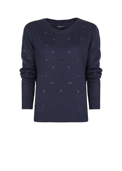 Pair this Mango crystal embellished sweater ($80) with wool trousers and chunky heel Mary Janes for a cozy librarian look.