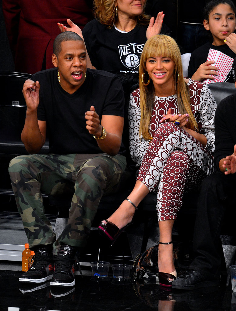 Jay-Z and Beyoncé Knowles cheered on the Nets.