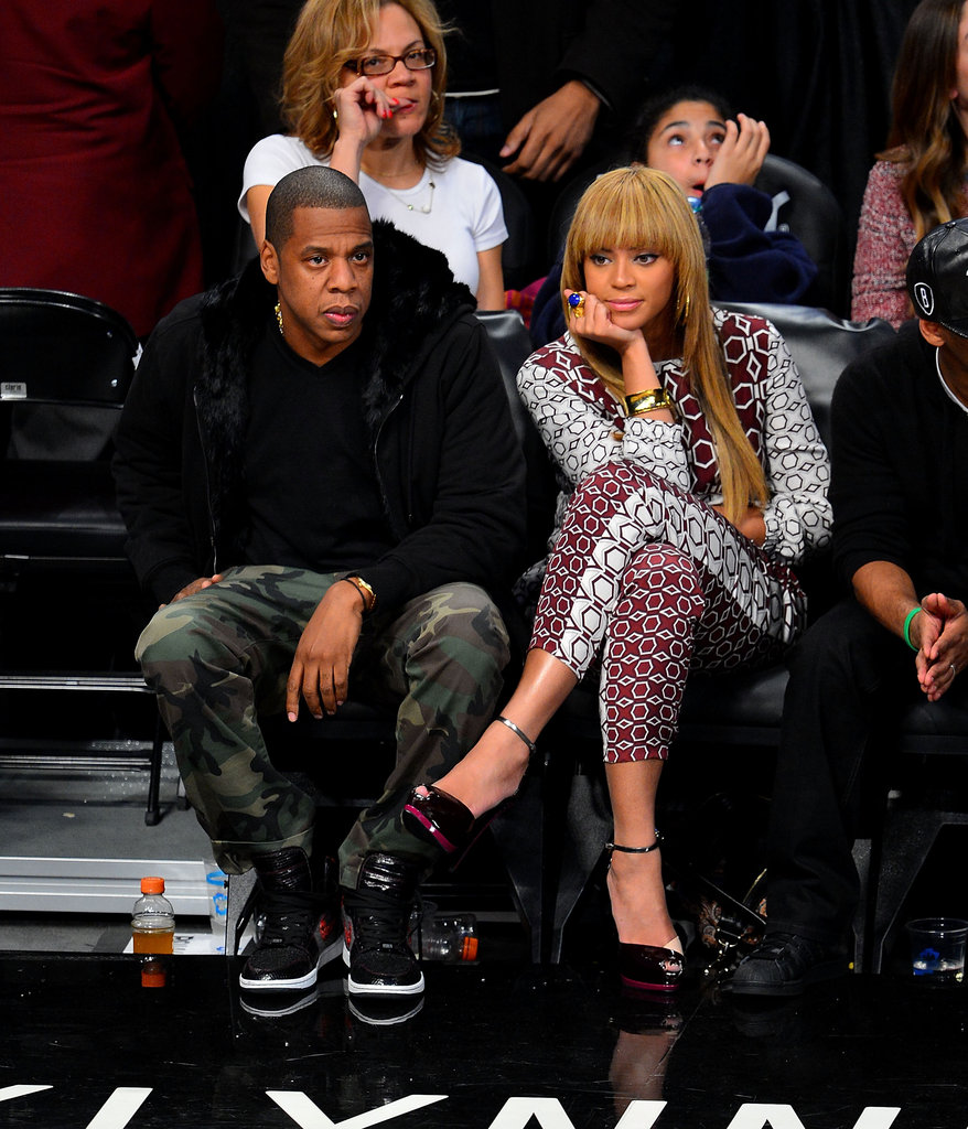 Beyoncé Knowles and Jay-Z watched the Raptors vs. Nets game.