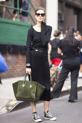 Dress down your LBD with sneakers, then warm it up with a rich Autumn hue on your accessories. Source: Adam Katz Sinding