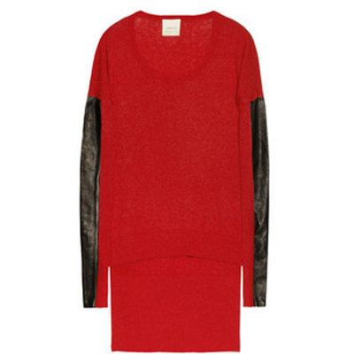 Leather sleeve panels give this Mason by Michelle Mason leather-paneled cotton and cashmere-blend sweater ($265) a subversive touch.