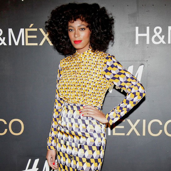 Solange Knowles Wearing Printed Pencil Skirt