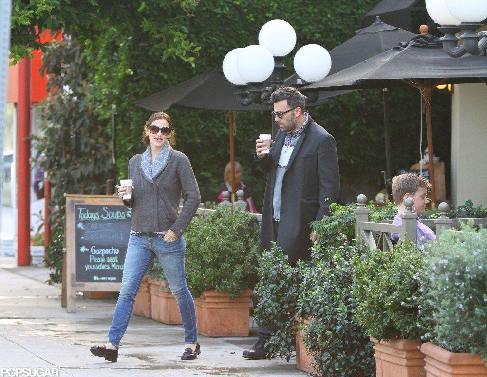 Ben Affleck took Jennifer Garner to make a morning coffee stop.