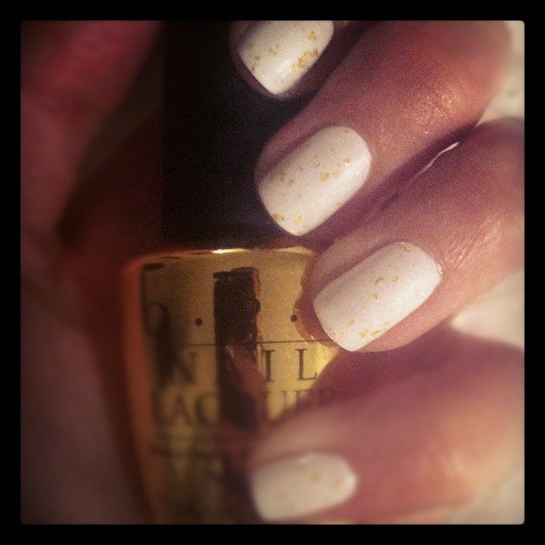 Alison tries out OPI's James Bond-themed polish — it has flecks of real gold in it!