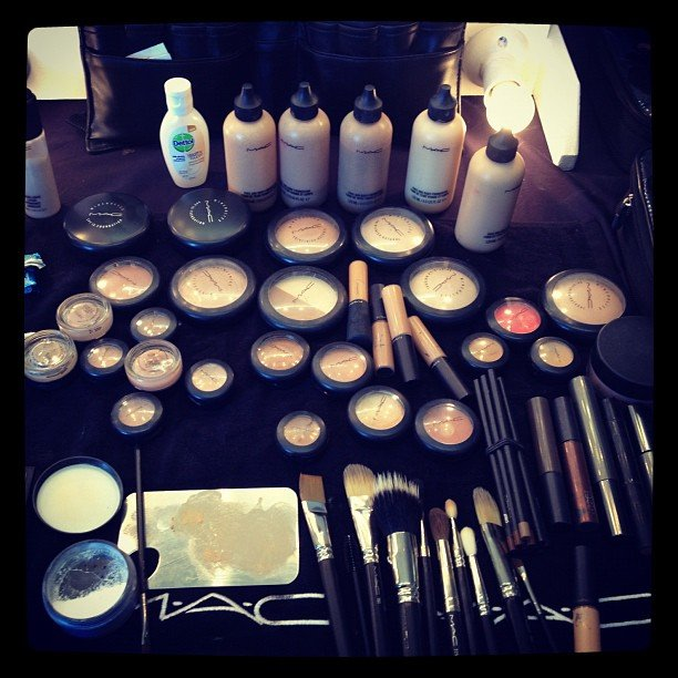 MAC everywhere! No problems telling which was the makeup of choice backstage at Lisa Ho.