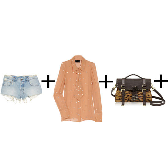 The trick that makes this look so freakin' cool is the high-low mix; take one pair of toughed-up cut-offs and add the most luxurious blouse you can find. Unbotton to there, add a pair of flats and your 'It' bag of choice. Bonus points if it's your Mulberry namesake. Shorts, approx $178, Ksubi at Net-a-Porter, shirt, approx $696, Sonia Rykiel at The Outnet and bag, approx $3,098, Mulberry.