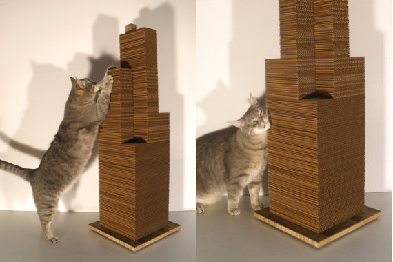 Another eco-friendly choice, The Sky Scratcher ($149) from Etsy features a modern design reminiscent of a skyscraper, which will hilariously make your cat look like King Kong.