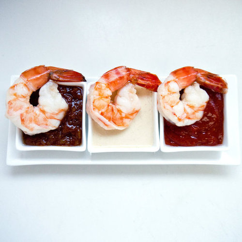 Poached Shrimp with Cocktail, BBQ, and Peanut Dipping Sauces