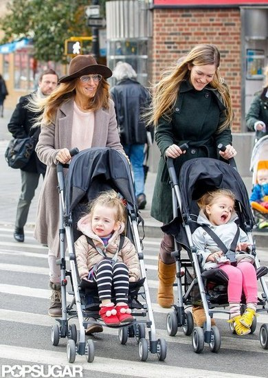 Sarah Jessica Parker chatted with a nanny as they pushed Tabitha Broderick and Loretta Broderick in their strollers.