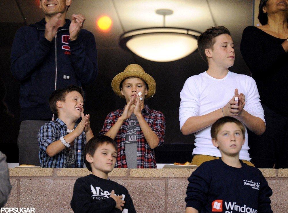 Brooklyn Beckham, Romeo Beckham, and Cruz Beckham cheered on dad David Beckham at his LA Galaxy playoff game.