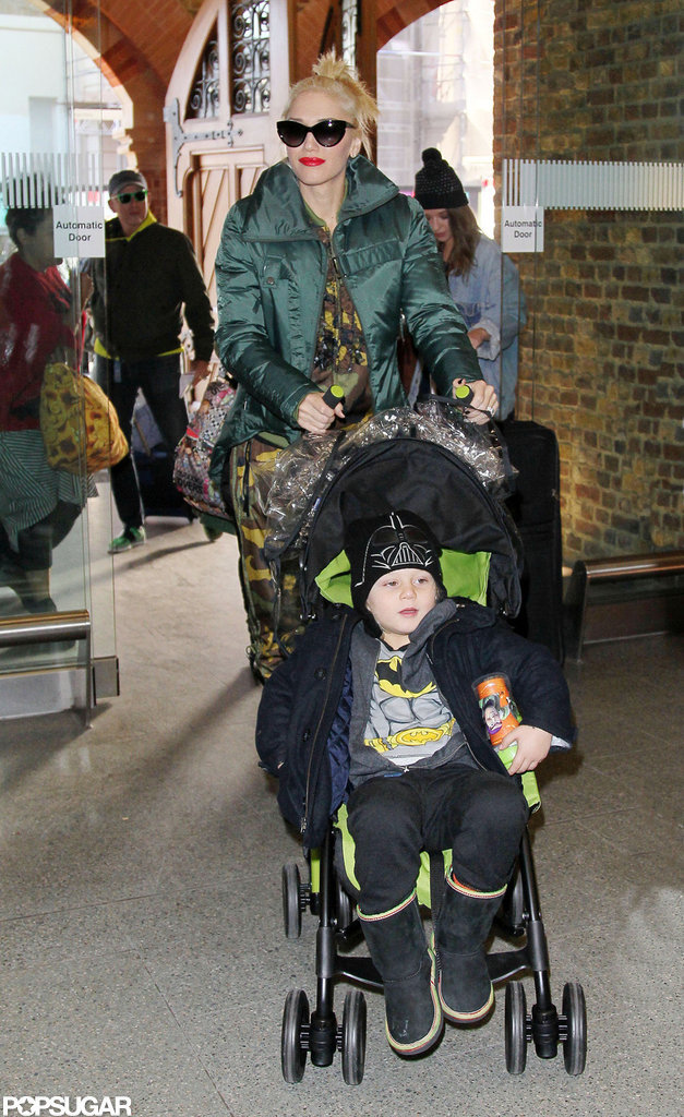 Gwen Stefani and Zuma Rossdale made their way to the train station in Europe.