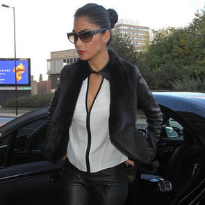 Nicole Scherzinger Wearing Fur Collar Jacket