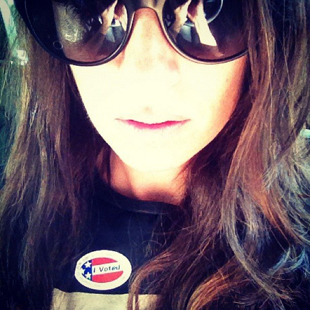 Catt Sadler made sure to vote and got a pin to show for it. Source: Instagram user iamcattsadler