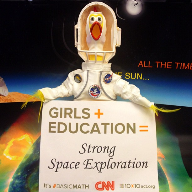 """""""On October 11 we will be celebrating 'International Day of the Girl'. As you might know, I am all about getting girls excited about Science, Technology, Engineering and Math. So for me, Girls + Education = Strong Space Exploration. For this celebration I am wearing my Space Camp outfit. I believe it to be a very appropriate outfit as Space Camp provides such great inspiration. Please join me, 10x10 - Educate Girls. Change the World, and all the girls around the world in this celebration. #STEM #10x10 #BasicMath #CNN"""" Source: Instagram user camillasdo"""