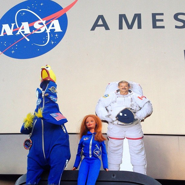 """""""A special visit from Venus Barbie and Canadian Astronaut Chris Hadfield (the 2D version) to NASA Ames. Chris is scheduled to launch to the International Space Station later this year and will become the first Canadian Commander of the ISS. Venus Barbie does STEM outreach, getting girls interested in science, technology, engineering and math. #NASA #CSA #Canada #STEM"""" Source: Instagram user camillasdo"""