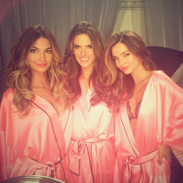 Lily Aldridge, Alessandra Ambrosio, and Miranda Kerr celebrated with a group photo before the Victoria's Secret Fashion Show. Source: Twitter user AngelAlessandra