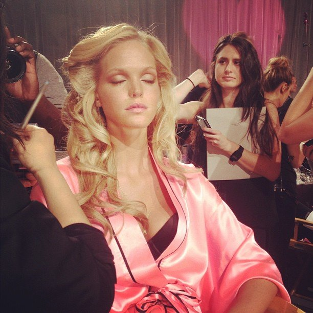 Erin Heatherton took a moment to catch some shut-eye backstage. Source: Instagram user vanityfair